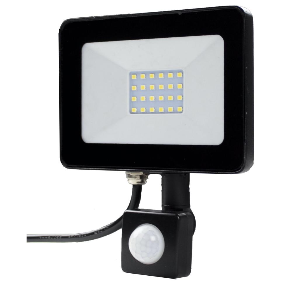 LED Bouwlamp - verstraler - floodlight - met sensor - 20 watt - 4000K natural white - zijkant