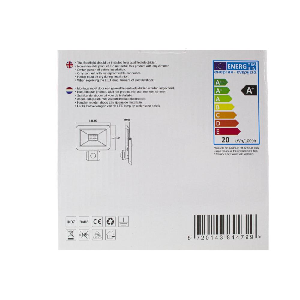 LED Bouwlamp - verstraler - floodlight - met sensor - 20 watt - achterkant verpakking