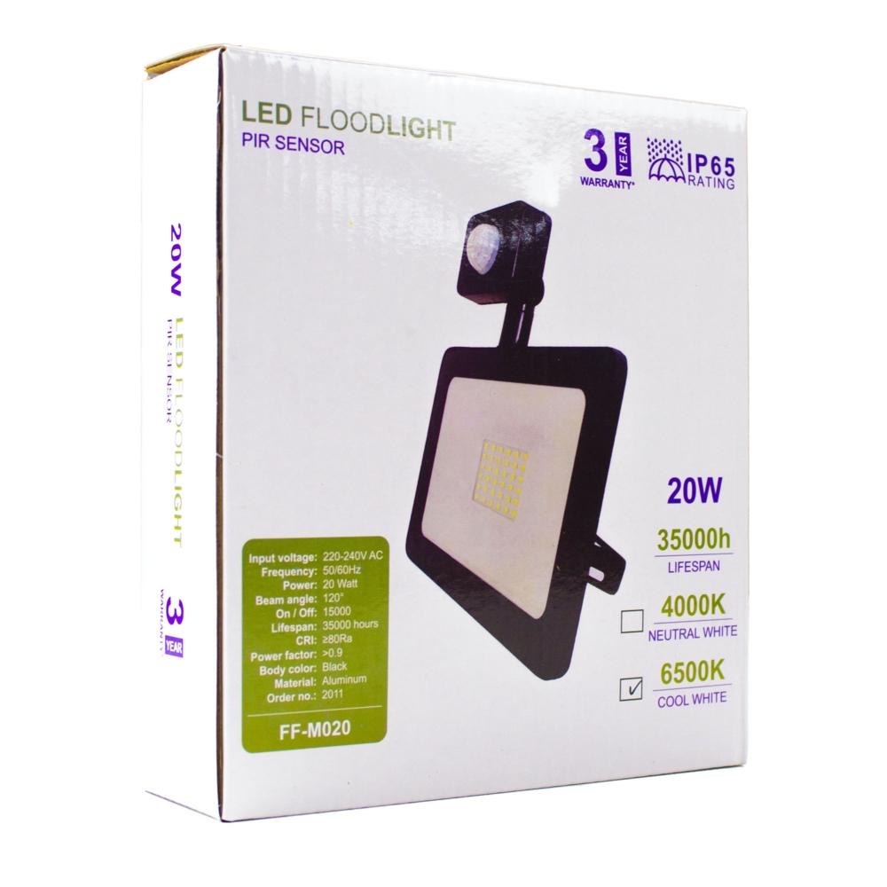 LED Bouwlamp - verstraler - floodlight - met sensor - 20 watt - verpakking