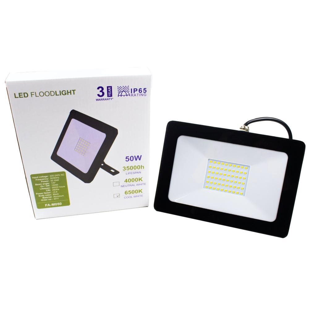 LED Bouwlamp - floodlight - Breedstraler - 50 watt - zwart - 4000K - verpakking