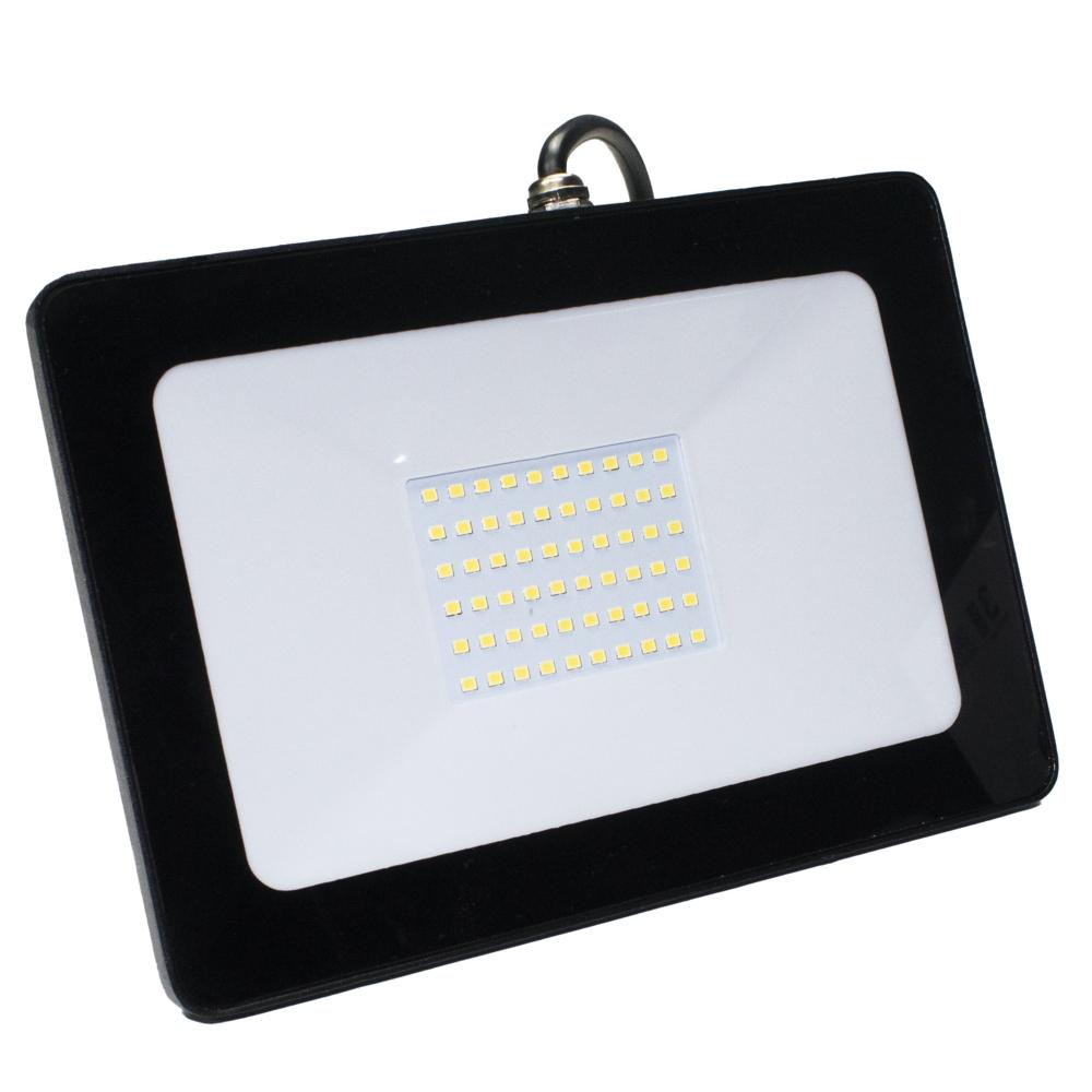 LED Bouwlamp - floodlight - Breedstraler - 50 watt - zwart - 4000K - zijaanzicht