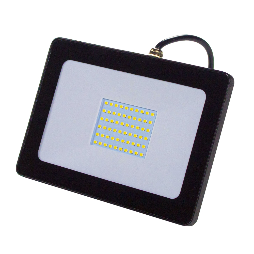 LED Bouwlamp - floodlight - Breedstraler - 50 watt - zwart - 4000K - Voorkant