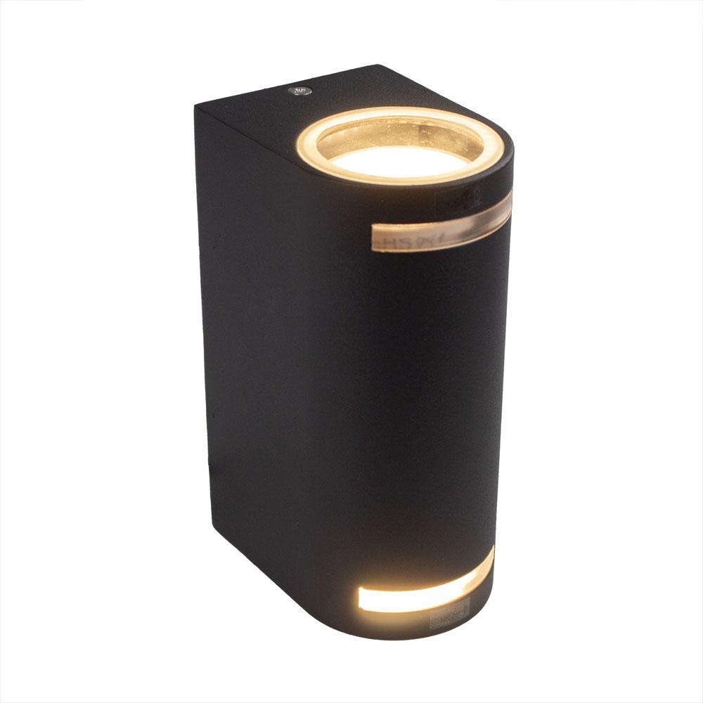 LED buiten spot armatuur 2 x GU10 fitting zwart IP44 - zijkant lampen aan