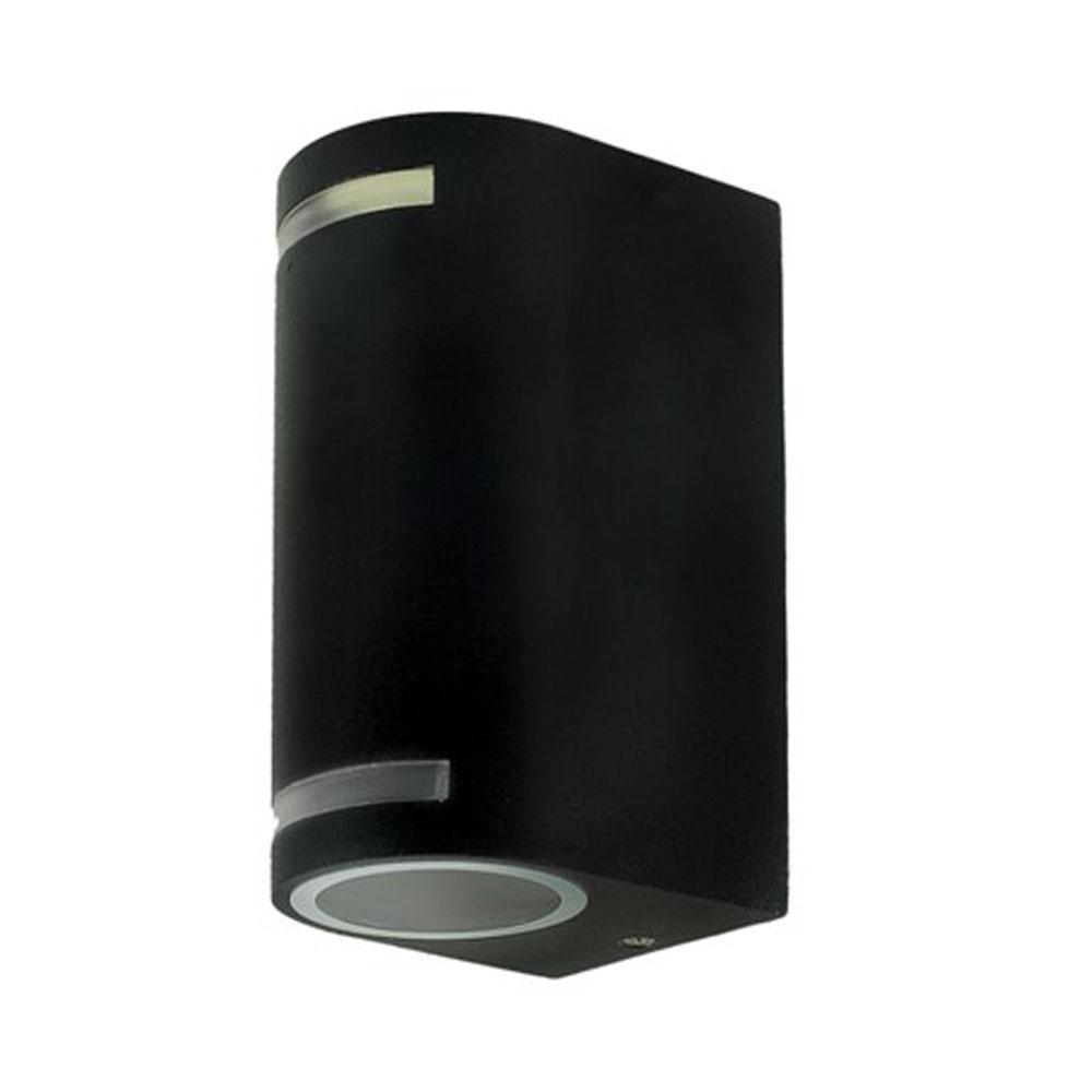 LED buiten spot armatuur 2 x GU10 fitting zwart IP44 - zijaanzicht lampen uit
