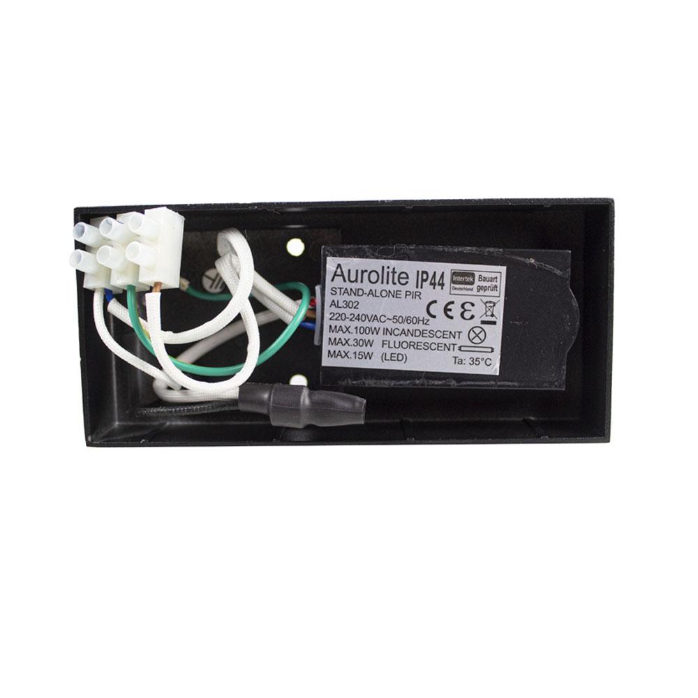 LED buitenlamp met sensor zwart rond met GU10 fitting - bedrading