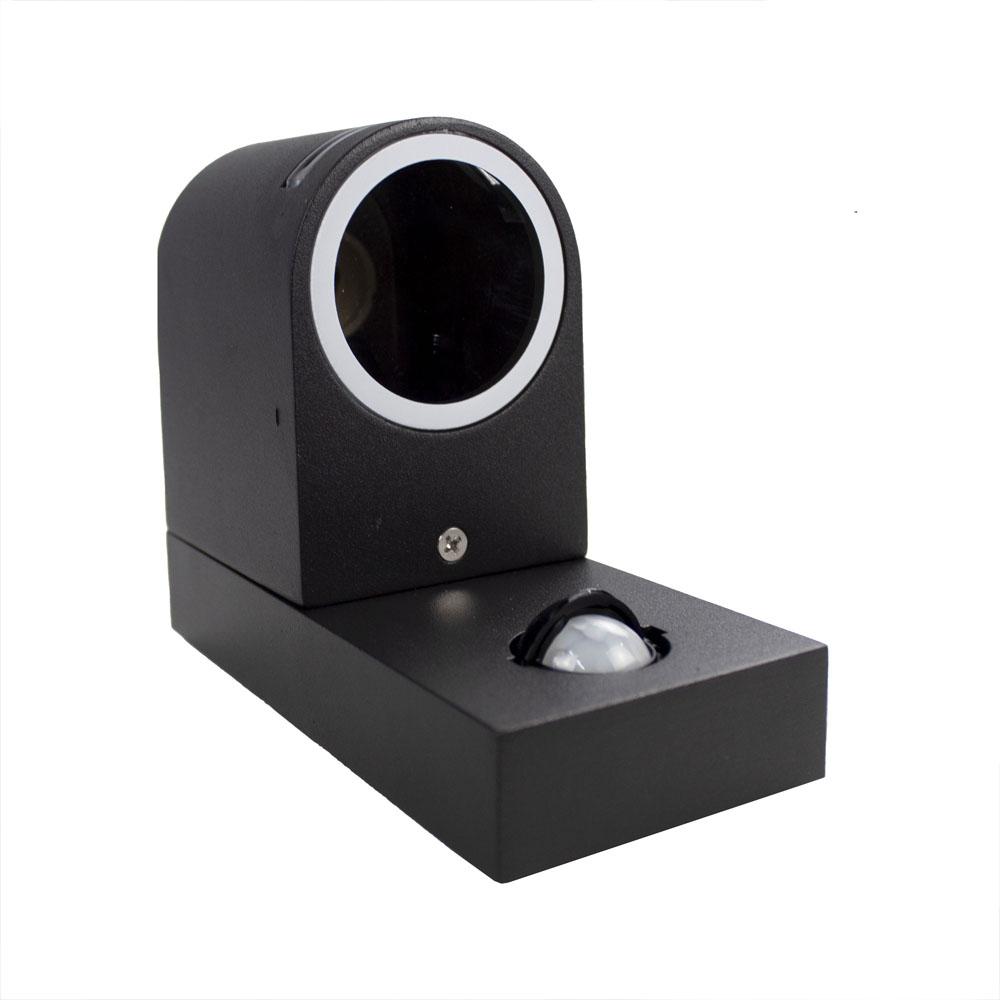 LED buitenlamp met sensor zwart rond met GU10 fitting - liggend