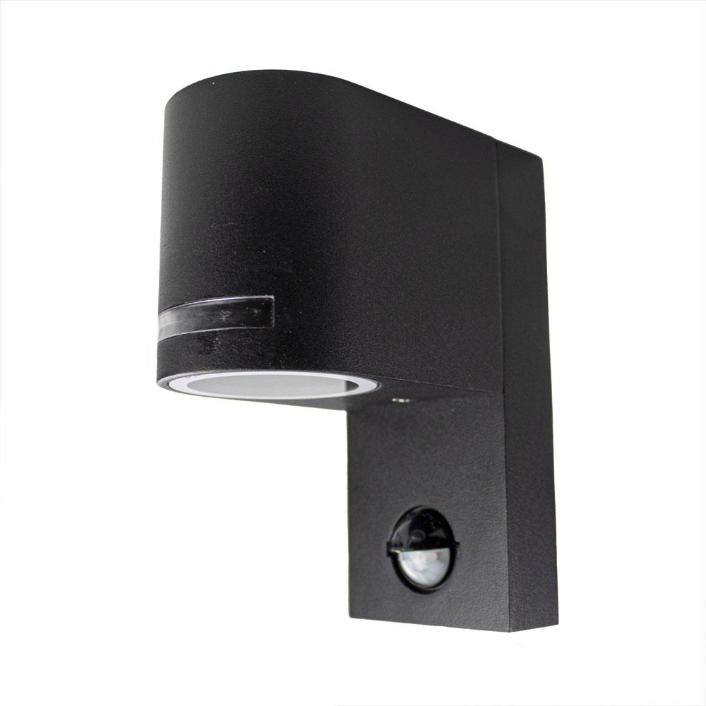 LED buitenlamp met sensor zwart rond met GU10 fitting - zijkant lamp uit