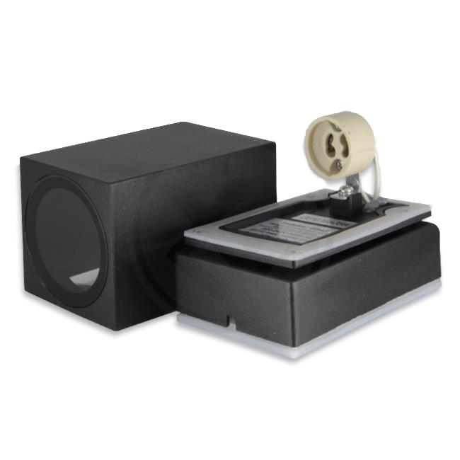 LED Buitenspot - vierkant - kantelbaar - GU10 - zwart - New york - IP44 - binnenkant