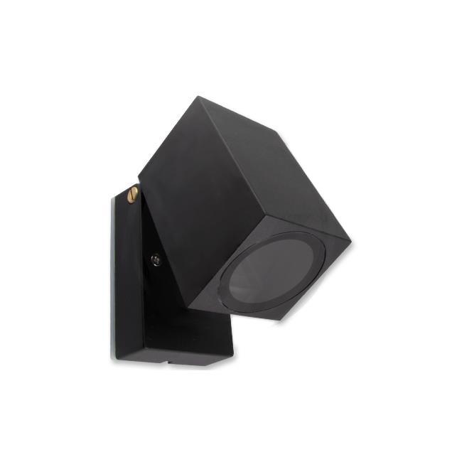 LED Buitenspot - vierkant - kantelbaar - GU10 - zwart - New york - IP44 - voorkant