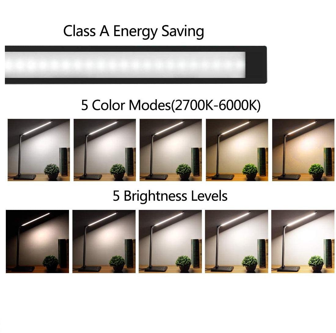 LED Bureaulamp 7 watt - draadloos oplaadbaar - lichtsterktes en lichtkleuren