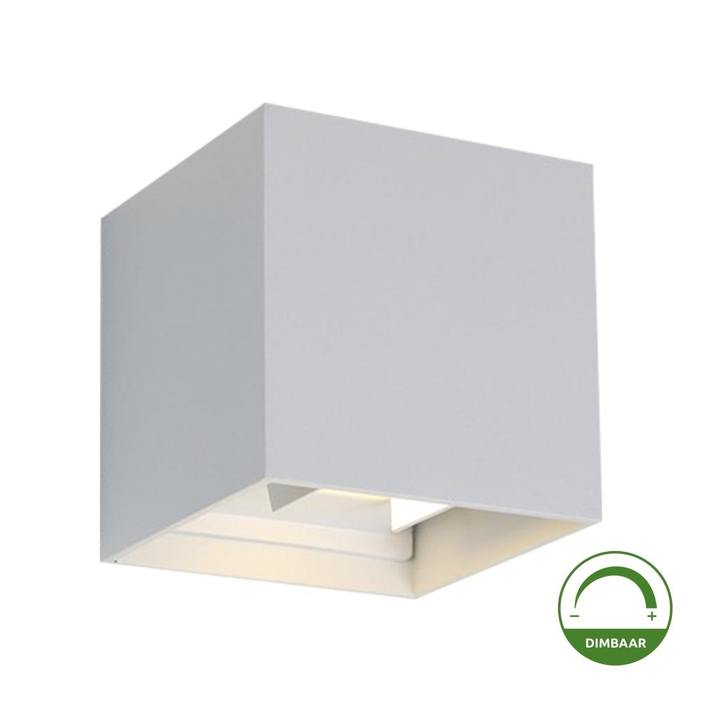 LED Cube wandlamp WIT - kubus - vierkant - 6 watt - dimbaar - 3000K warm wit - kantelbaar Dimbaar