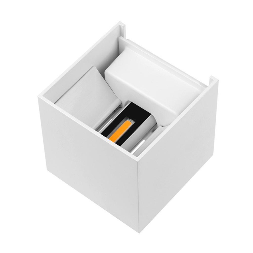 LED Cube wandlamp WIT - kubus - vierkant - 6 watt - dimbaar - 3000K warm wit - kantelbaar - binnekant