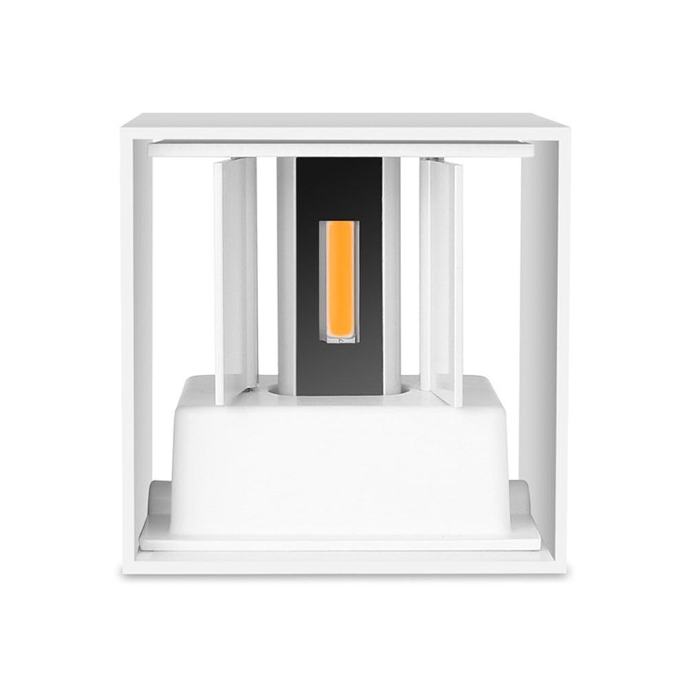 LED Cube wandlamp WIT - kubus - vierkant - 6 watt - dimbaar - 3000K warm wit - kantelbaar - onderkant