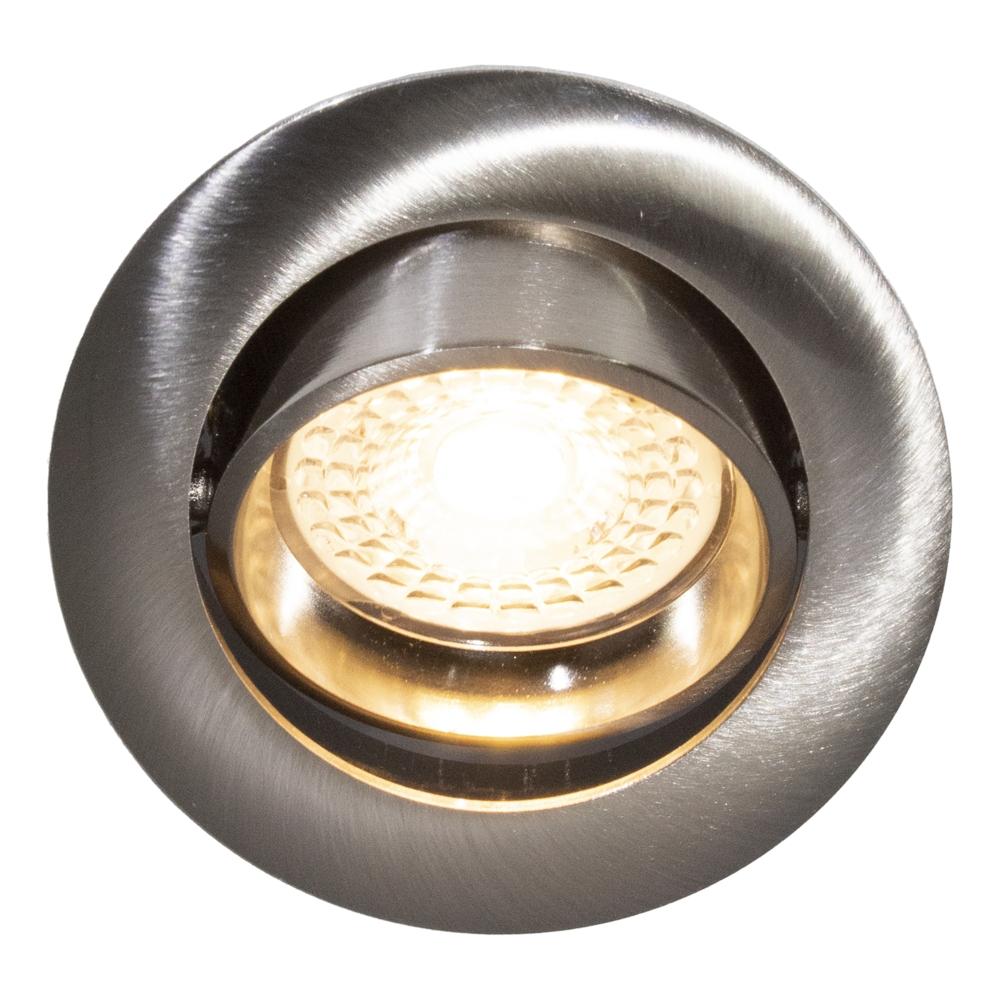LED Dimbare Inbouw spot 5,5W RVS zonder klemveer 2700K - Warm Wit - kantelbaar - 70mm - silver - vooraanzicht