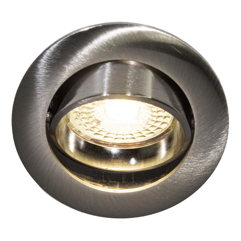LED Dimbare Inbouw spot 5,5W RVS zonder klemveer 4000K - Naturel Wit - kantelbaar - 70mm - silver - vooraanzicht