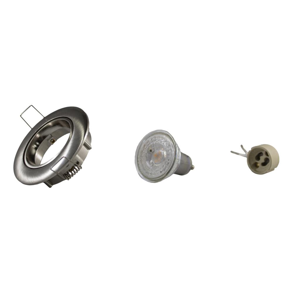 LED Dimbare Inbouw spot 5,5W RVS zonder klemveer - kantelbaar - silver - onderdelen