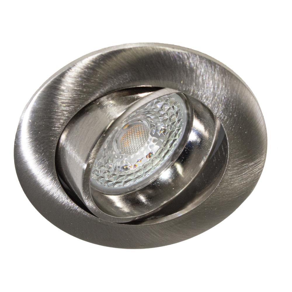 LED Dimbare Inbouw spot 5,5W RVS zonder klemveer - kantelbaar - silver - vooraanzicht