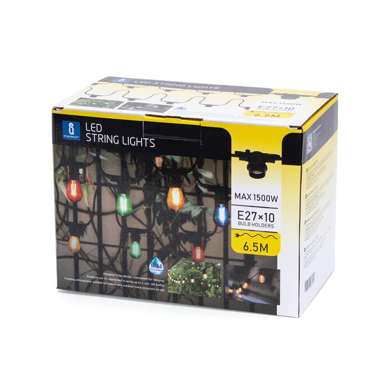 LED Feestverlichting - prikkabel - 6.5 meter - E27 fitting 10x - dimbaar - verpakking