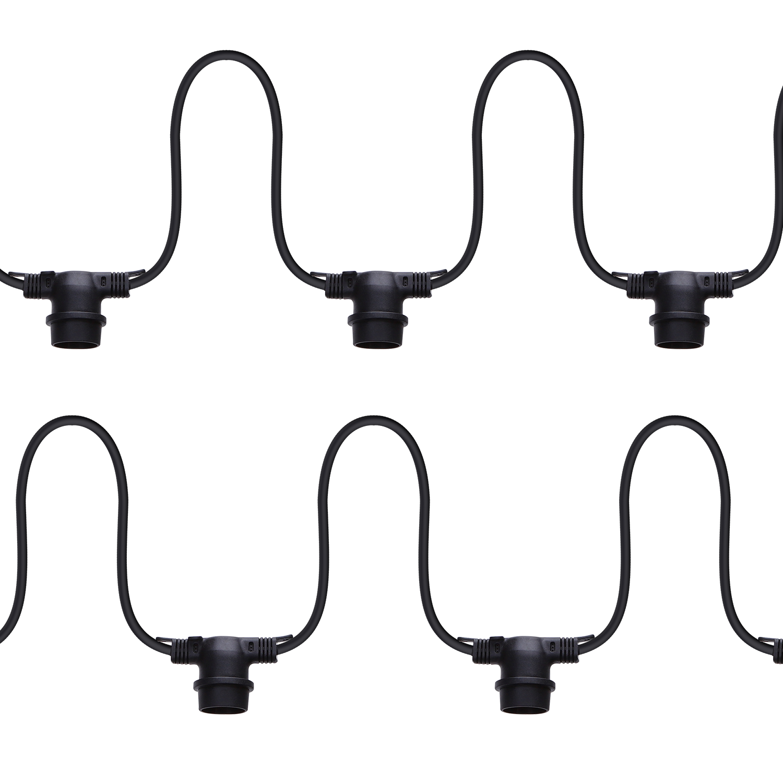 LED Feestverlichting - prikkabel - 6.5 meter - E27 fitting 10x zwart