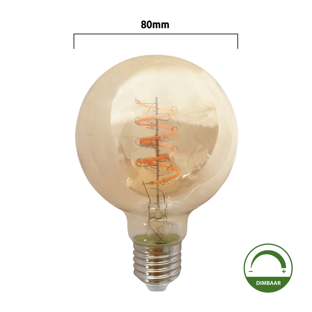 LED Filament amber Globe 80mm lamp amber - 4 watt - dimbaar - spiraal - G80 - goud glas
