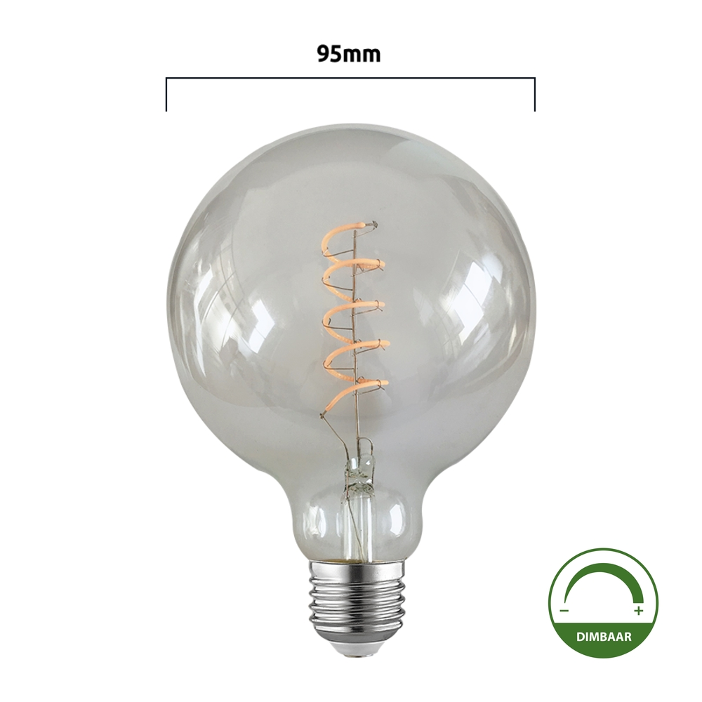 Filament globe lamp LED - spiraal - 95mm - G95 - dimbaar - 4 watt - helder glas