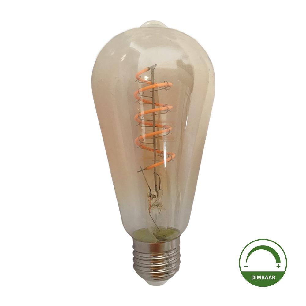 LED Filament ST64 Edison lamp - Goud glas - amber - 4 watt - dimbaar