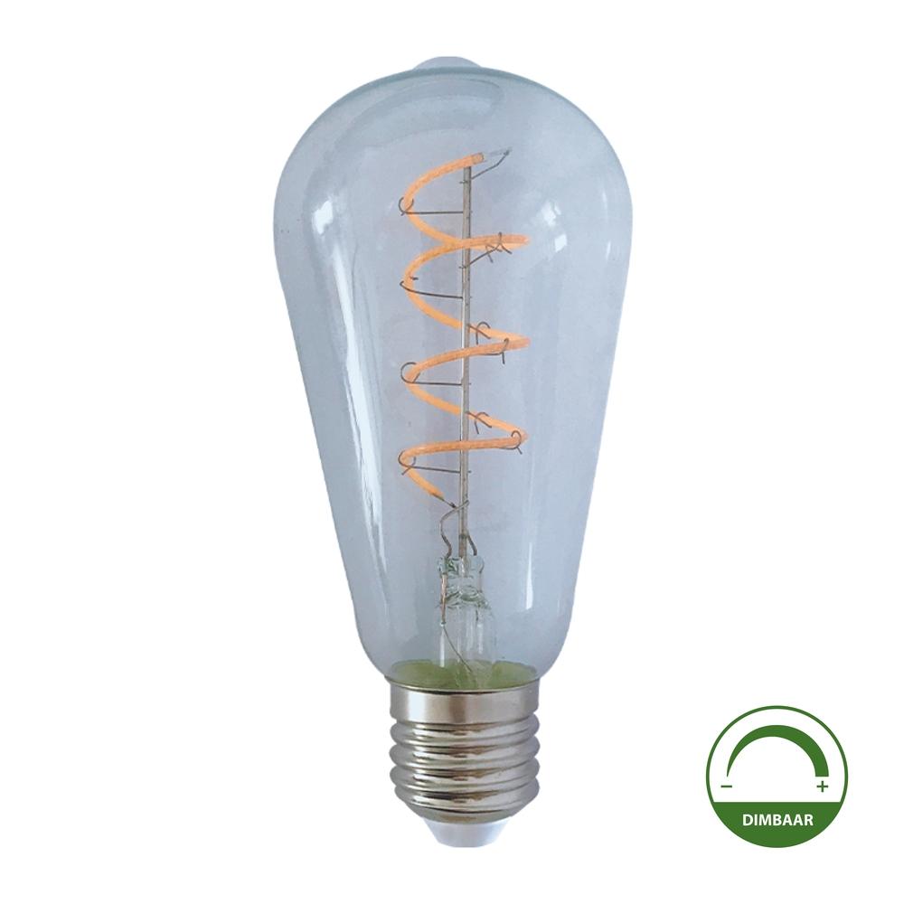LED Filament ST64 Edison lamp - Helder glas - 4 watt - dimbaar