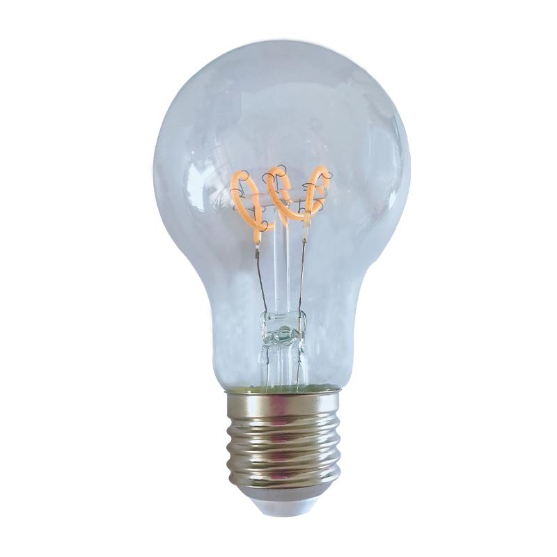 Gloeidraad spiraal LED filament peer lamp - 4 watt - dimbaar- 2200K extra warm wit