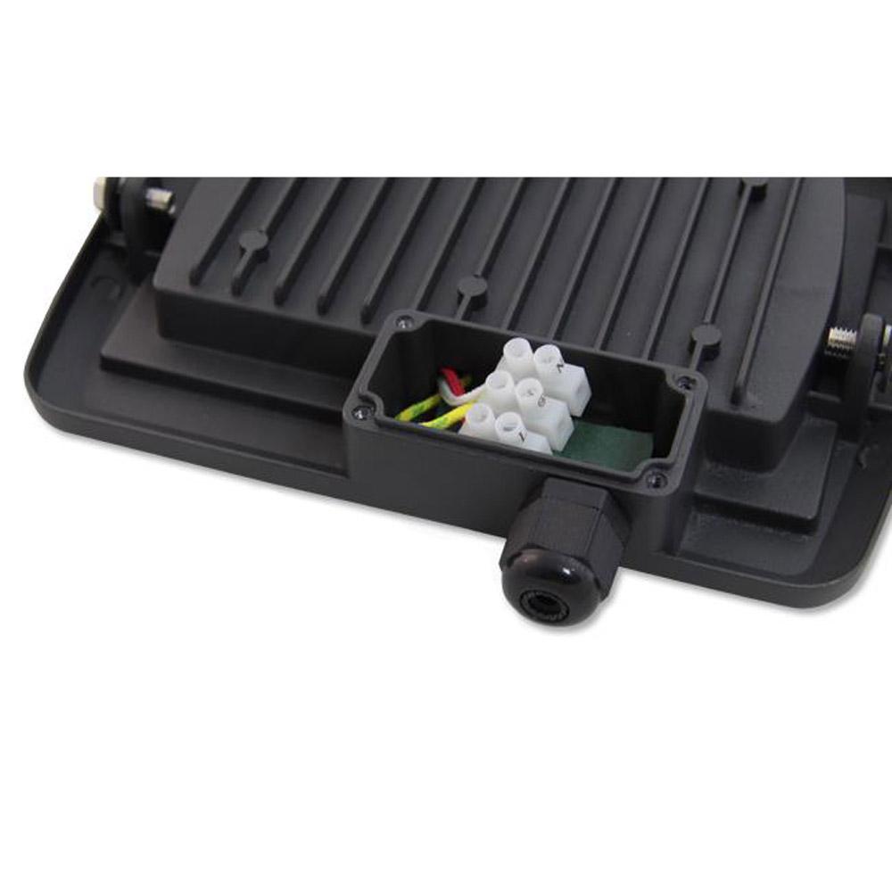 LED Floodlight 20 watt - Bouwlamp 20 watt - 4500K naturel wit - IP65 - verstraler 20W - kabeldoos achterkant