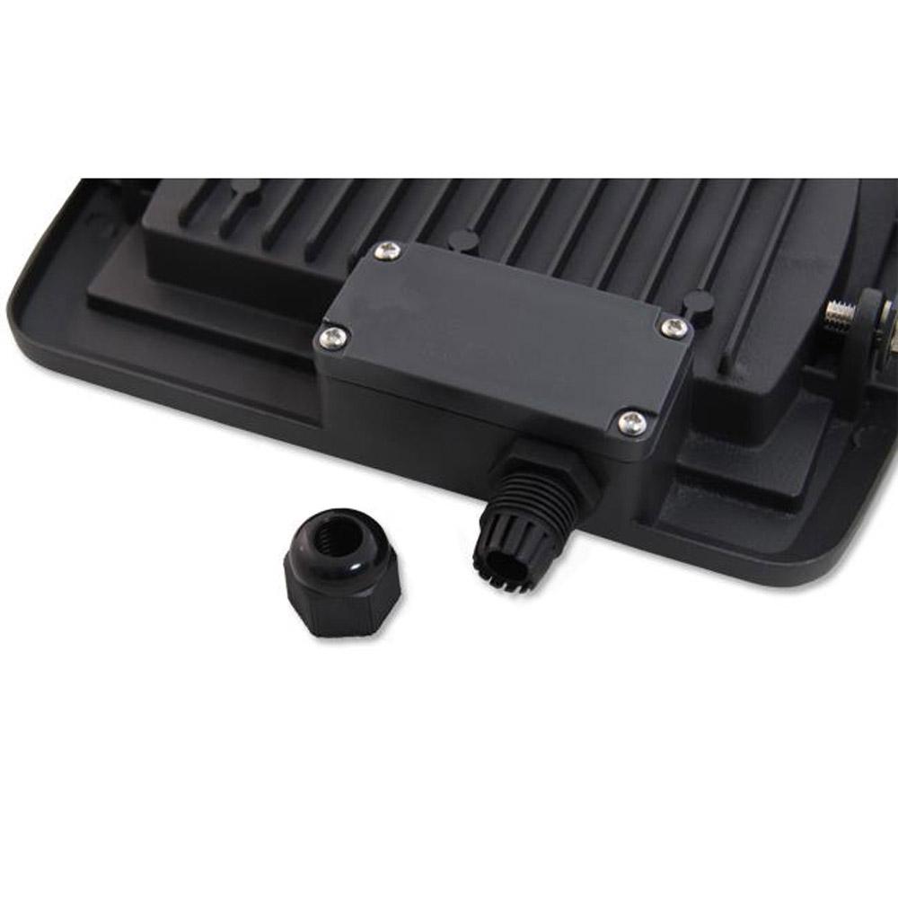 LED Floodlight 20 watt - Bouwlamp 20 watt - 4500K naturel wit - verstraler 20W - kabeldoos achterkant