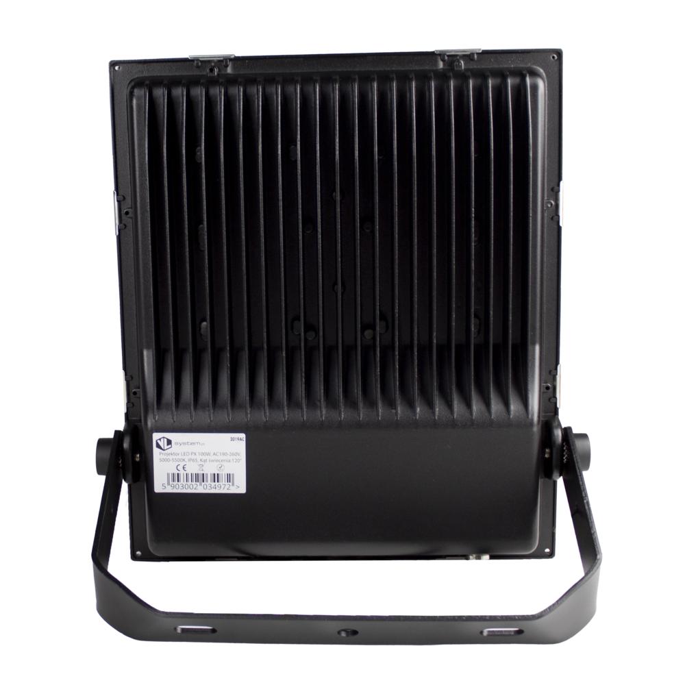 LED Floodlight - Bouwlamp - 100 watt - dimbaar - 5000K daglicht - zwart - achterkant