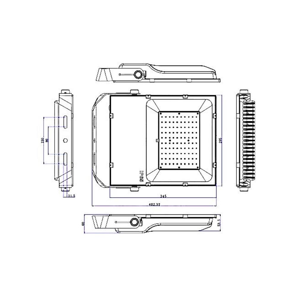 LED-Floodlight-Bouwlamp-100-watt-dimbaar-5000K-daglicht-zwart-projector-dimmable-afmetingen