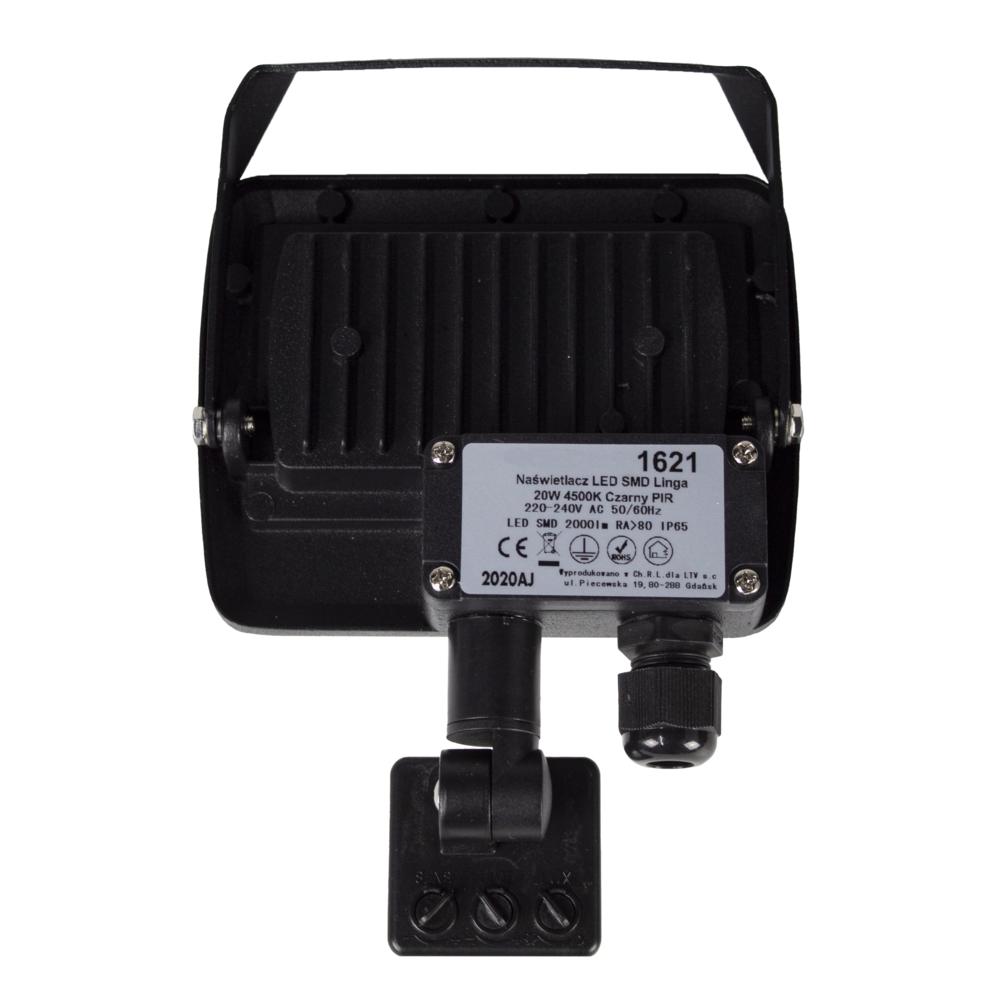 LED Floodlight sensor - Bouwlamp met sensor - IP65 - 20 watt - 4500K naturel wit - achterkant