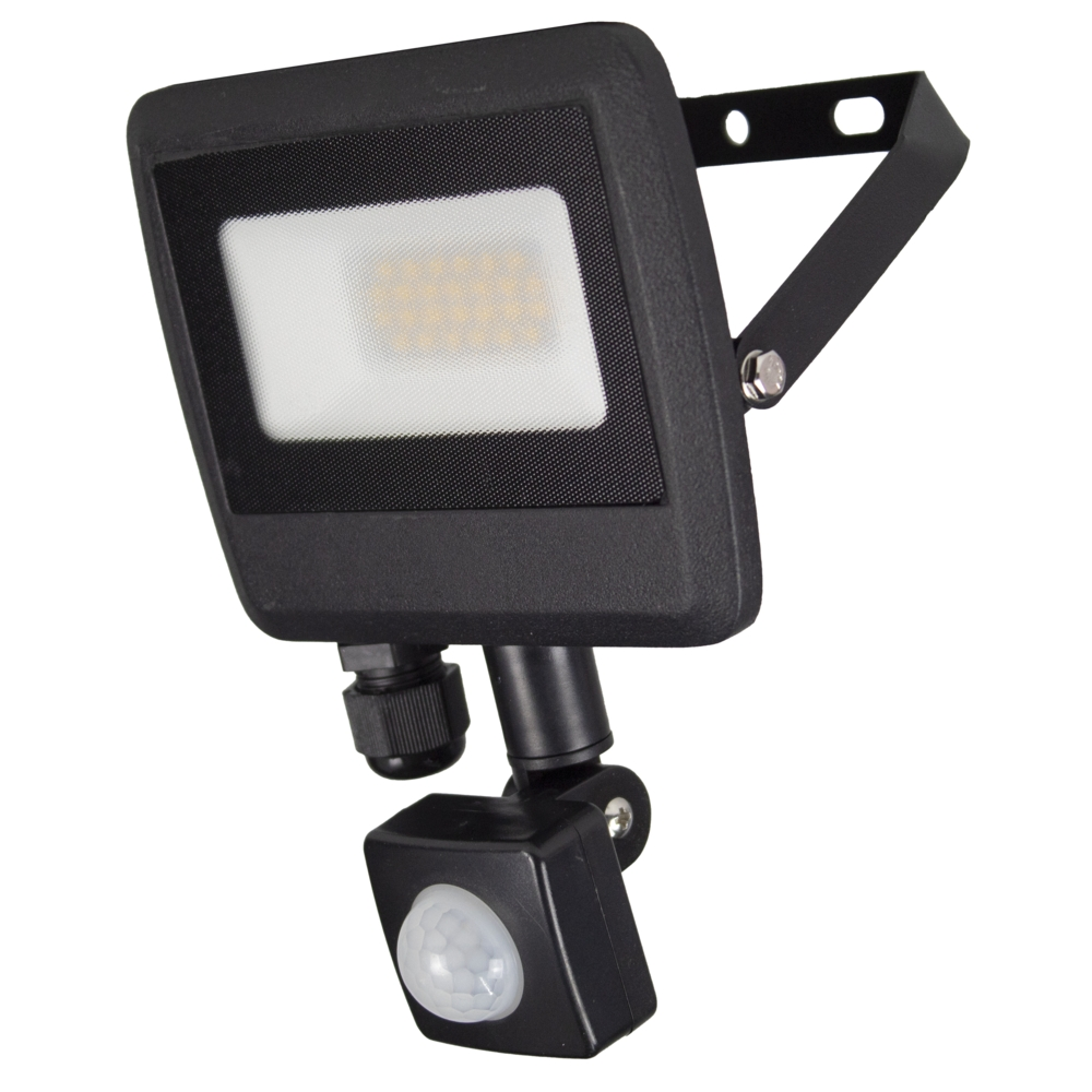 LED Floodlight sensor - Bouwlamp met sensor - IP65 - 20 watt - 4500K naturel wit - zijaanzicht