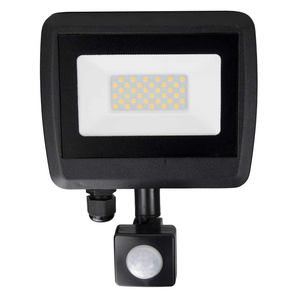 LED Floodlight sensor - Bouwlamp met sensor - IP65 - 30 watt - 4500K naturel wit - vooraanzicht