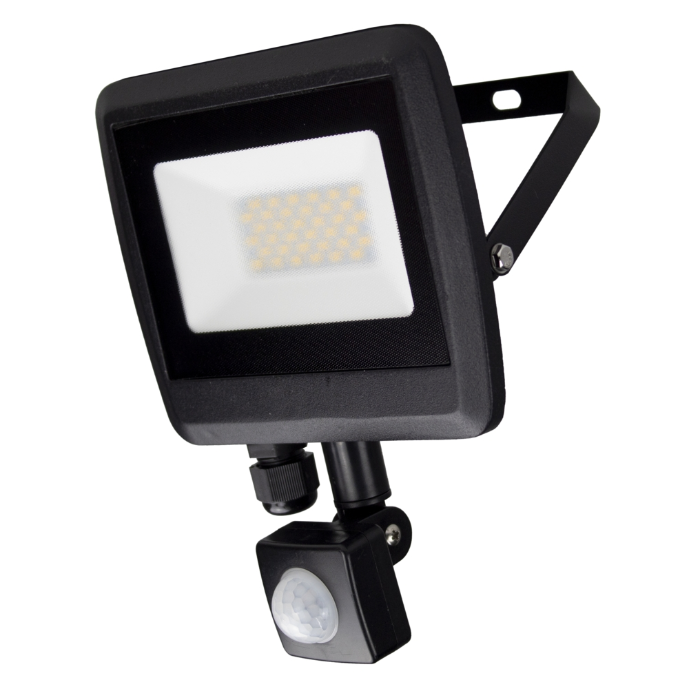 LED Floodlight sensor - Bouwlamp met sensor - IP65 - 30 watt - 4500K naturel wit - zijaanzicht
