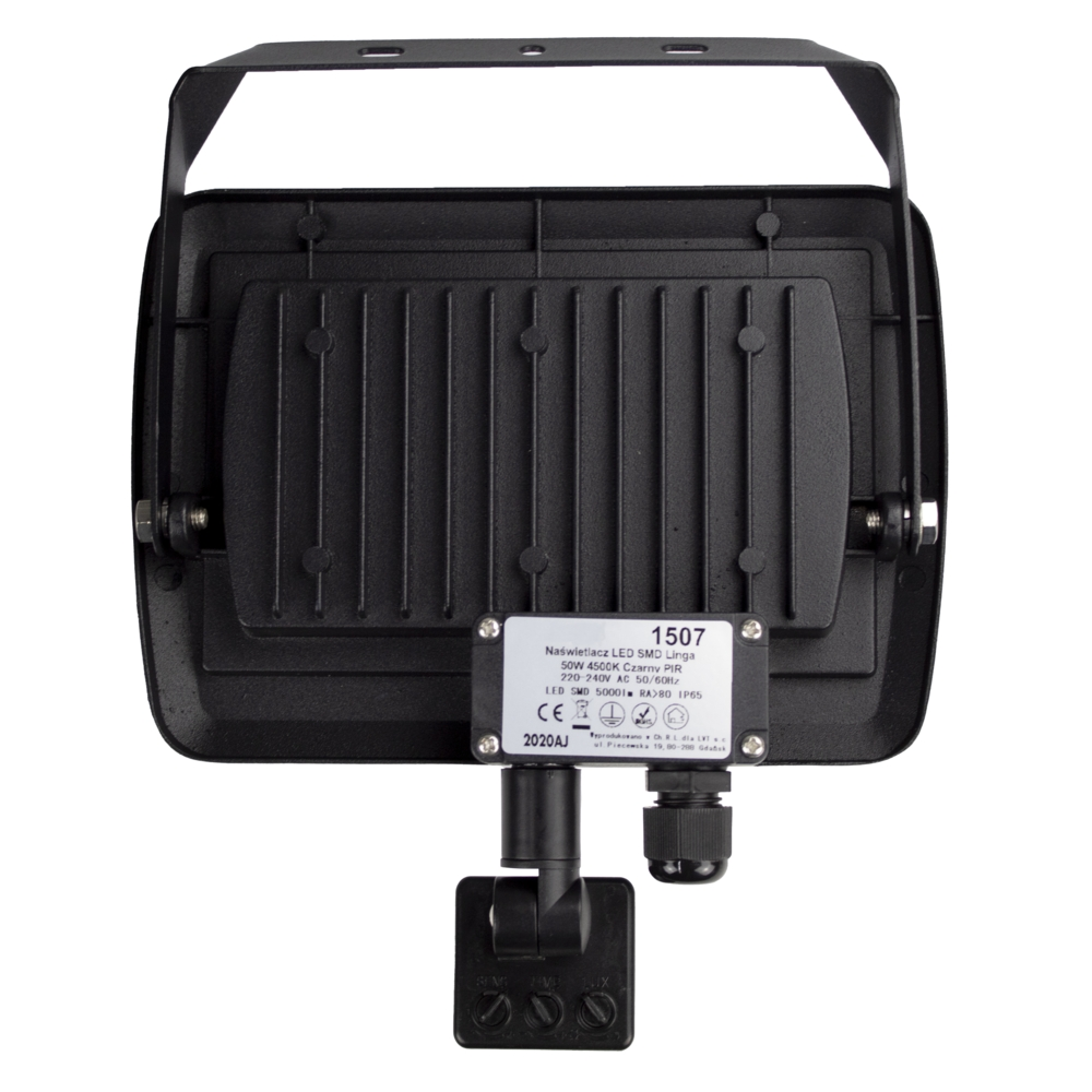 LED Floodlight sensor - Bouwlamp met sensor - IP65 - 50 watt - 4500K naturel wit - achterkant