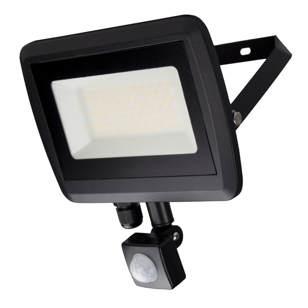 LED Floodlight sensor - Bouwlamp met sensor - IP65 - 50 watt - 4500K naturel wit - zijaanzicht