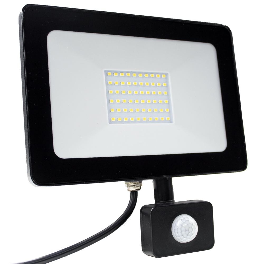 LED Floodlight - verstraler - bouwlamp - 50 watt - 4000K natural white - met sensor - voorkant