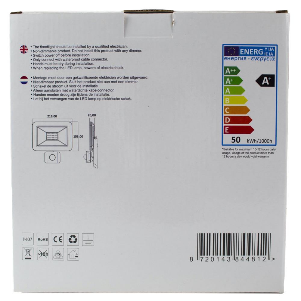 LED Floodlight - verstraler - bouwlamp - 50 watt - met sensor - verpakking achterkant