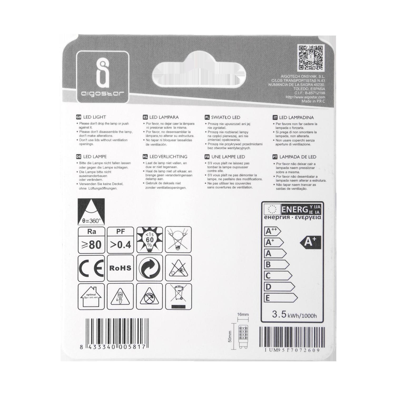 LED G9 spot - 3.5 watt - 6500k daglicht - achterkant verpakking