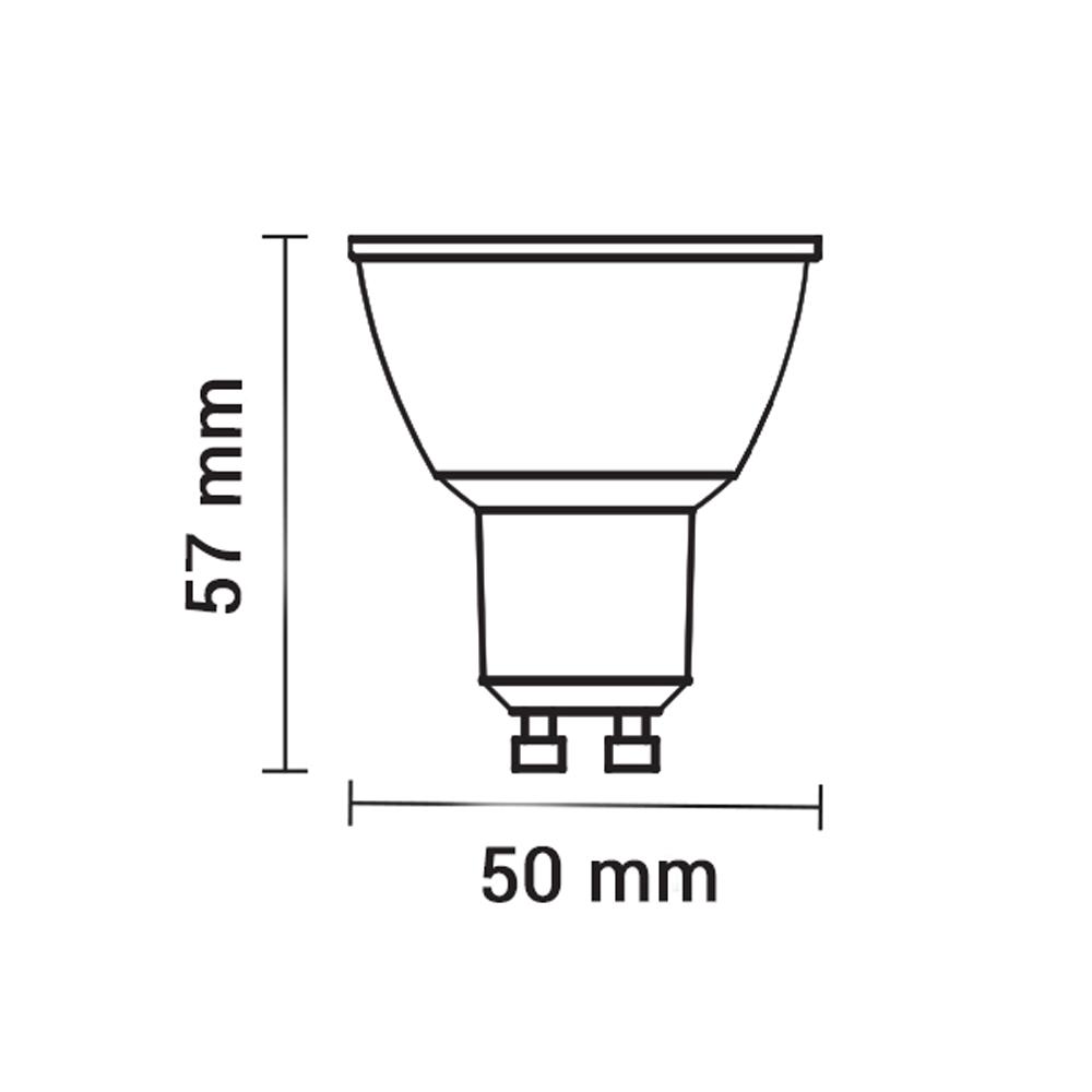 LED GU10 spot 10 watt 2700k warm wit - afmetingen