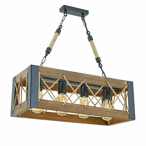 Rechthoekige LED hanglamp hout en metaal met 5x E27 fitting