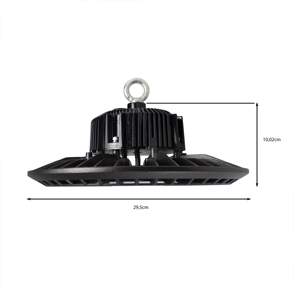LED High bay inclusief ophangsysteem zwart 100 Watt - afmetingen