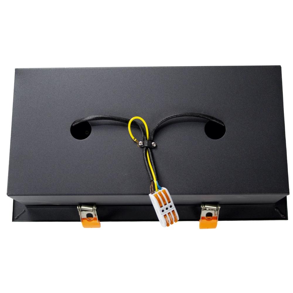 LED inbouw armatuur voor AR111 spots - dimbaar - kantelbaar - dubbel - rechthoek - zwart - achterkant
