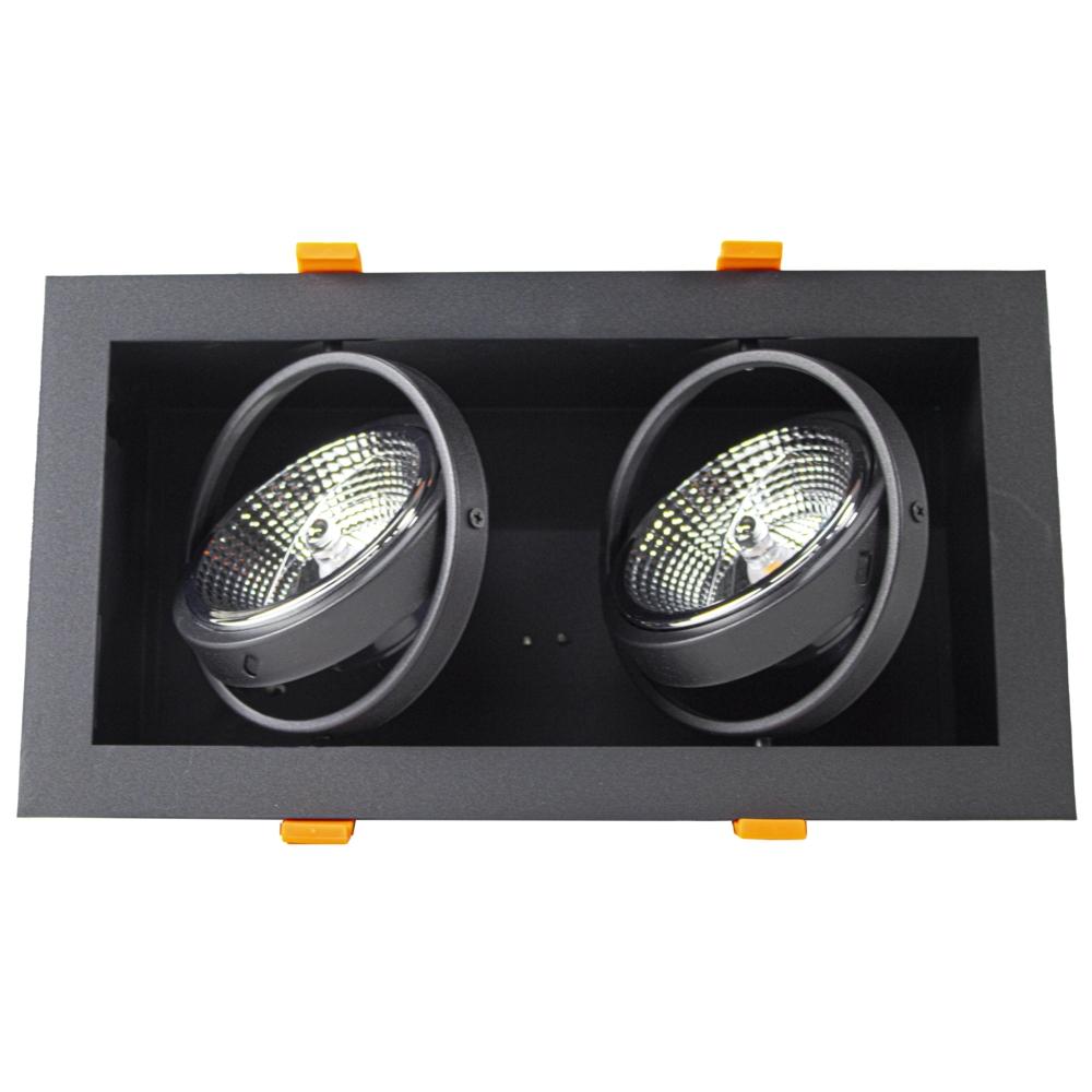 LED inbouw armatuur voor AR111 spots - dimbaar - kantelbaar - dubbel - rechthoek - zwart - gekanteld