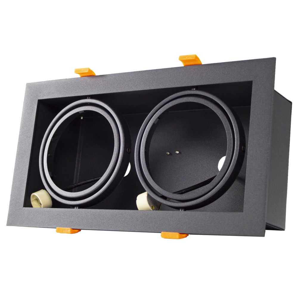 LED inbouw armatuur voor AR111 spots - dimbaar - kantelbaar - dubbel - rechthoek - zwart - zijkant