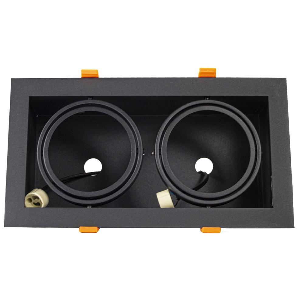 LED inbouw armatuur voor AR111 spots - dimbaar - kantelbaar - dubbel - rechthoek - zwart - voorkant