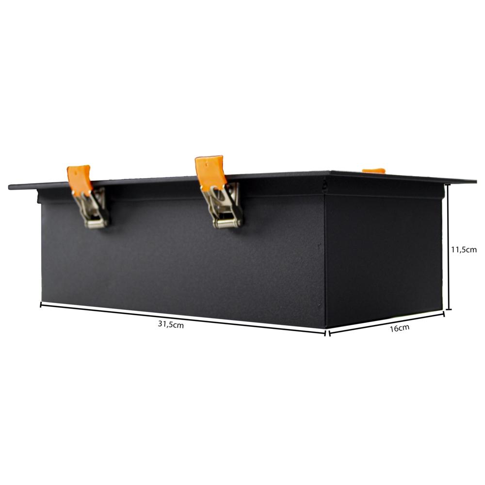 LED inbouw armatuur voor AR111 spots - dimbaar - kantelbaar - dubbel - rechthoek - zwart - afmetingen