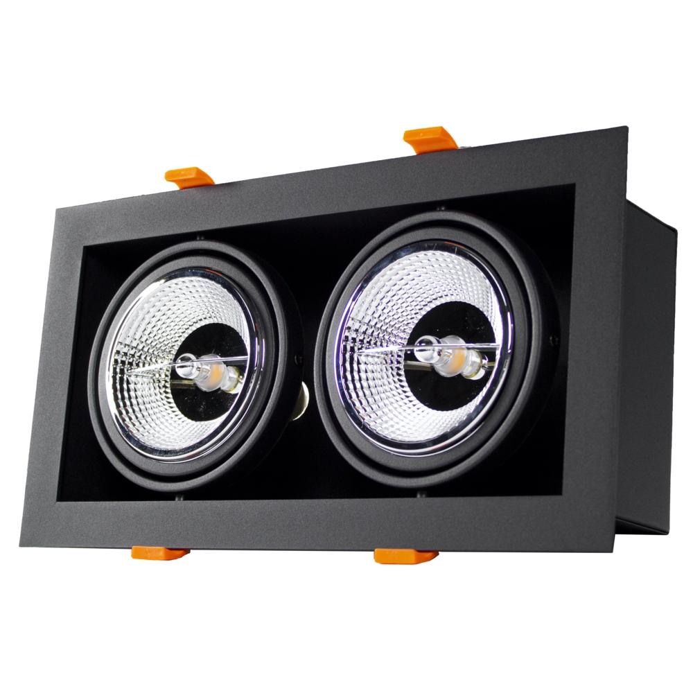 LED inbouw armatuur voor AR111 spots - dimbaar - kantelbaar - dubbel - rechthoek - zwart - voorkant met lamp